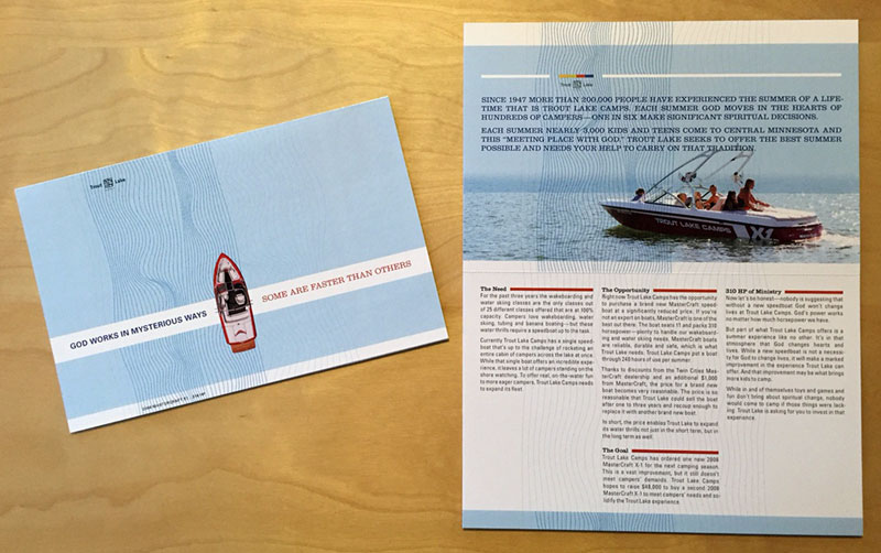 Trout Lake Camps Mastercraft brochure