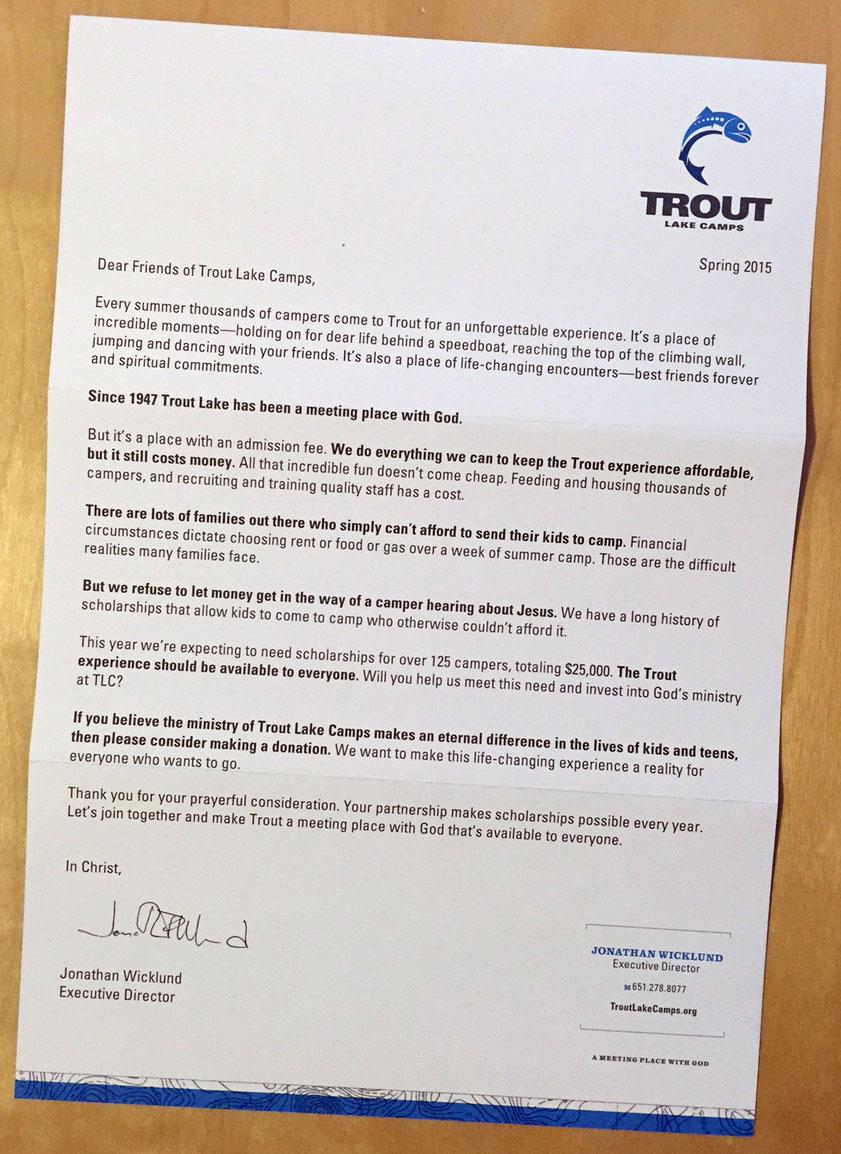 Trout Scholarship letter