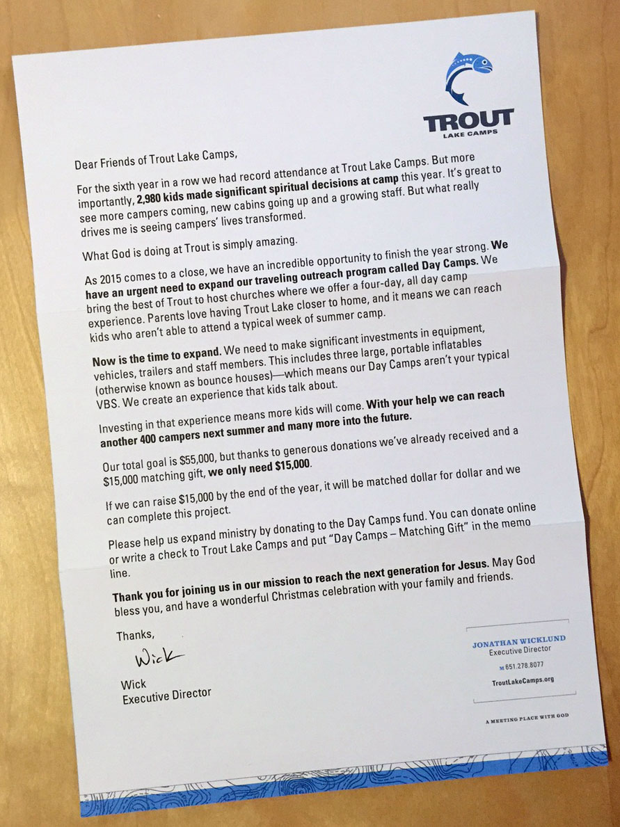 Trout Lake Camps year-end fundraising letter