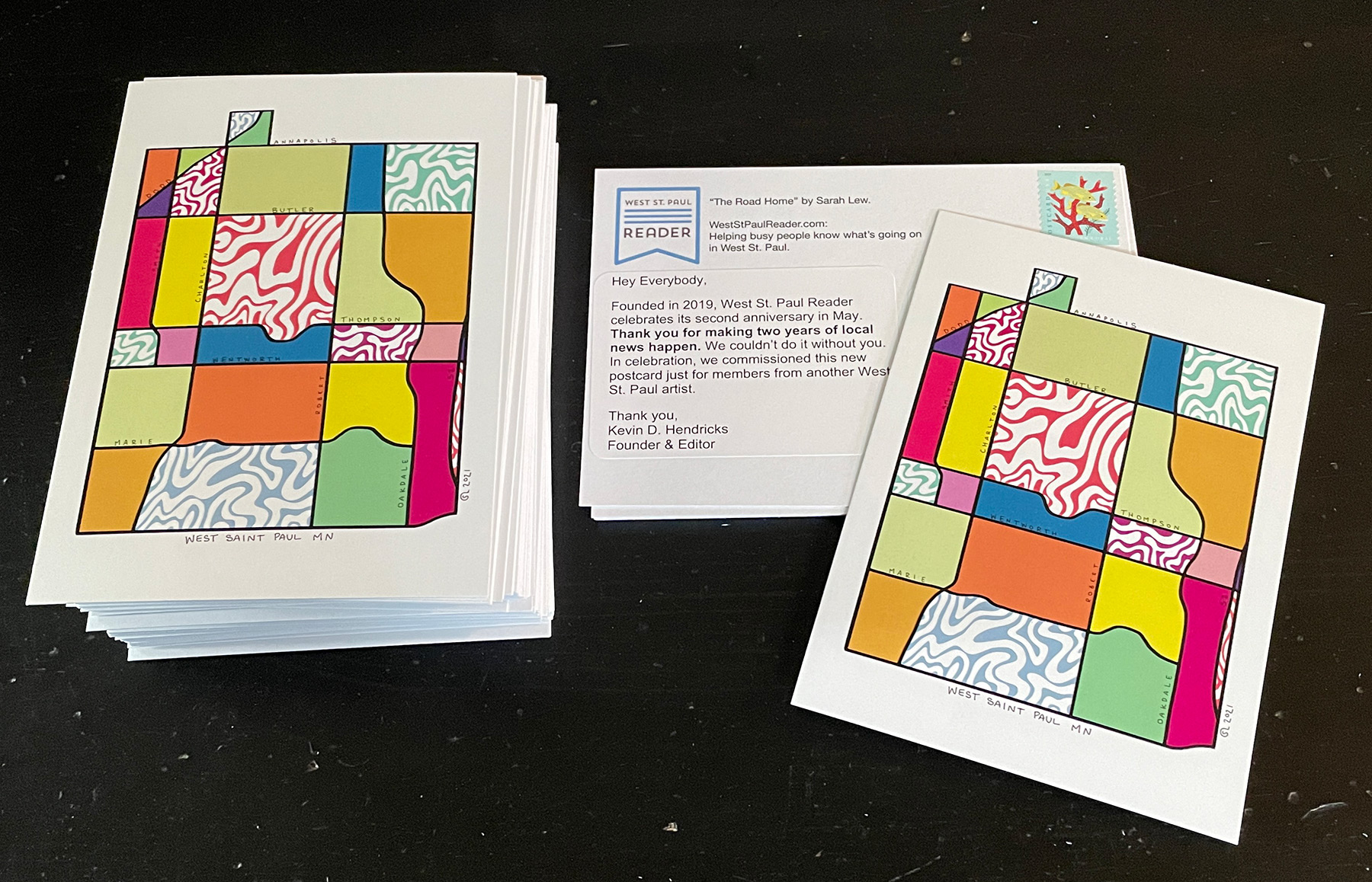 West St. Paul Reader postcards featuring art by Sarah Lew